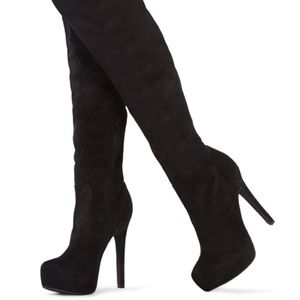 JustFab Prima Black over the knee boots